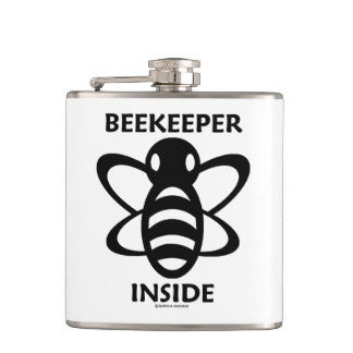 Beekeeper Inside Black White Bee Drawing Hip Flask