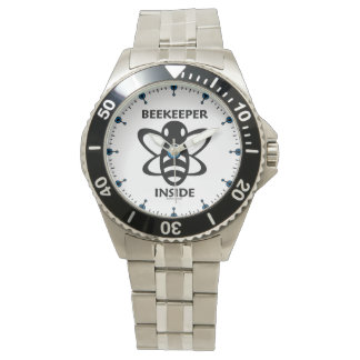 Beekeeper Inside Black White Bee Drawing Wristwatch