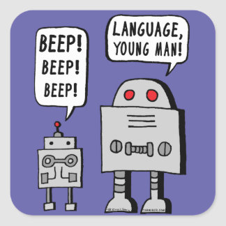 Beeping Robot Square Sticker