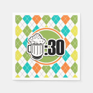 Beer:30 on Colorful Argyle Pattern Disposable Napkins