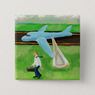 Beer, a Big Slide, and my Dignity - blue jet guy 2 Inch Square Button