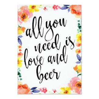 Beer affordable boho floral wedding sign card