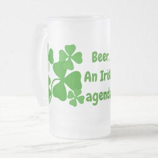 Beer, an Irish agenda, shamrock, green clover mug
