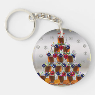 Beer and Chips Single-Sided Round Acrylic Keychain