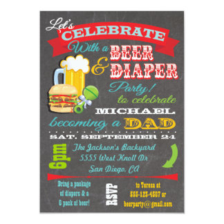 """Beer and Diaper Baby Shower for Dad to be 5"""" X 7"""" Invitation Card"""