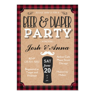 Beer and diaper baby shower invitation