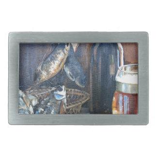 Beer and fish rectangular belt buckle