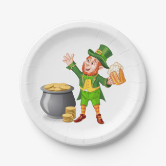Beer and Gold for Saint Patrick's Day 7 Inch Paper Plate