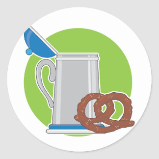 Beer and Pretzel Classic Round Sticker