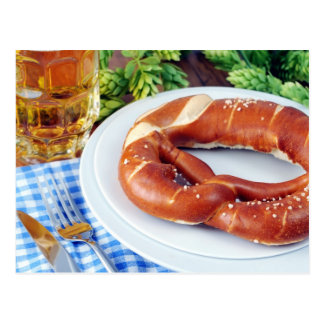 Beer and Pretzel. Octoberfest Postcard
