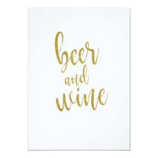 Beer and Wine Gold Glitter Affordable Sign Card