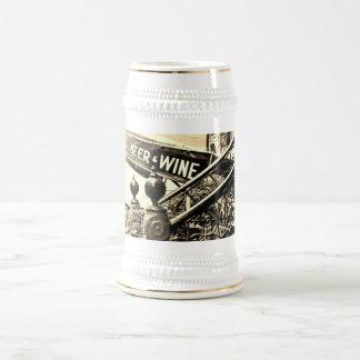 """""""Beer and wine"""" Sepia mug/ stein 18 Oz Beer Stein"""