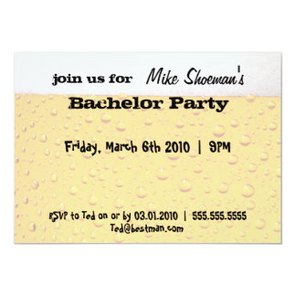 "Beer Bachelor Party Invitations 5"" X 7"" Invitation Card"