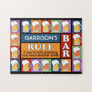 BEER Bar Pop Art CUSTOM NAME puzzle