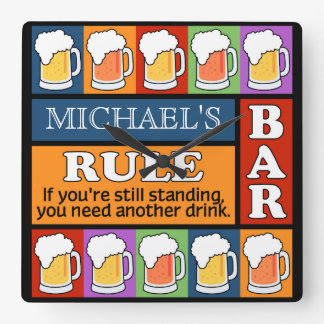 BEER Bar Pop Art CUSTOM NAME wall clock