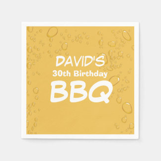 Beer & BBQ Birthday Party Paper Napkin