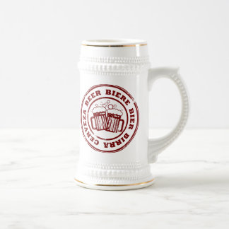 Beer, Biere, Bier, Birra, Cervzea Stamp Beer Stein