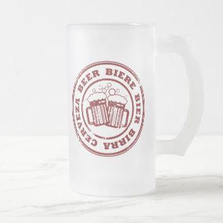 Beer, Biere, Bier, Birra, Cervzea Stamp Frosted Glass Beer Mug