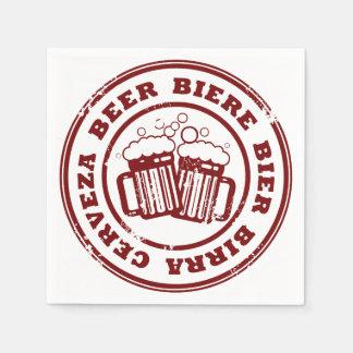 Beer, Biere, Bier, Birra, Cervzea Stamp Paper Napkin