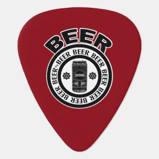 BEER - Black and White, Beer Can on Red Pick