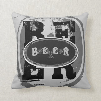 Beer-Black and White Oval 2 Throw Pillow