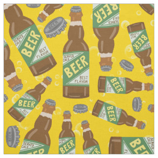 Beer Bottle and Caps Pattern with Bubbles Retro Fabric