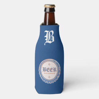 Beer Bottle Cap Blue/White Bottle Cooler