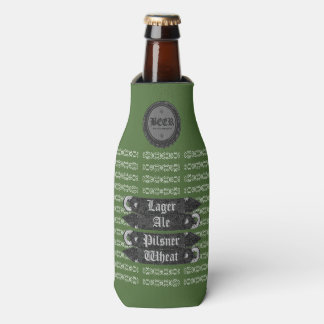 Beer Bottle Cap/Bottle Opener Green/Grey/White Bottle Cooler
