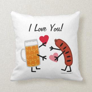 Beer & Bratwurst - I Love You! (customizable) Throw Pillow
