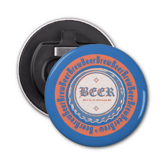 BEER Brew - Bottle Cap Blue/White Bottle Opener