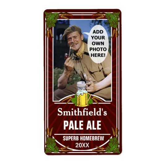 Beer Brewer Custom Photo Homebrewing Bottle Red Shipping Label