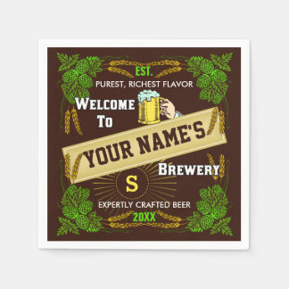 Beer Brewery Personalized Name | Hops Barley Bar Paper Napkin