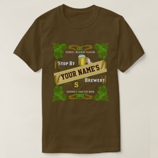 Beer Brewery Personalized Name | Hops Barley Cool T-Shirt