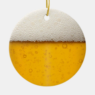 Beer Bubbles Close-Up Round Ceramic Ornament