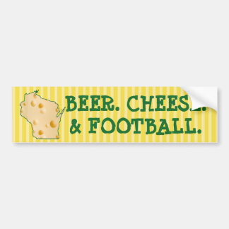 BEER CHEESE FOOTBALL Wisconsin Funny Bumper Sticke Bumper Sticker