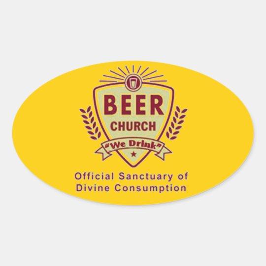 BEER CHURCH OVAL STICKER