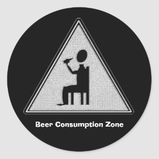 Beer Consumption Zone Round Sticker