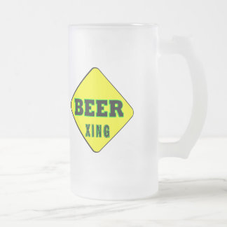 Beer Crossing Frosted Glass Beer Mug