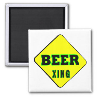 Beer Crossing Square Magnet