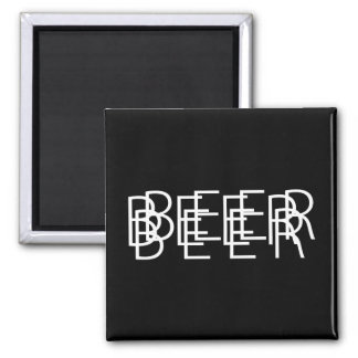 BEER Double Vision - Black and White Square Magnet