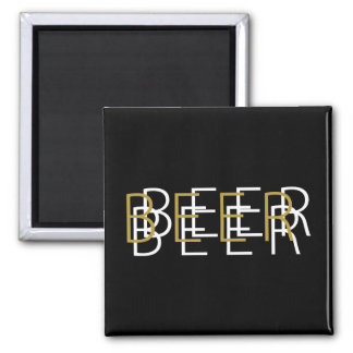 BEER Double Vision - Black Gold and White Refrigerator Magnet