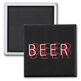 BEER Double Vision - Black Red and White Refrigerator Magnets
