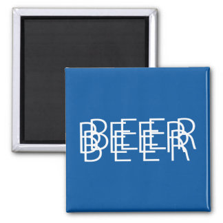 BEER Double Vision - Blue and White Square Magnet