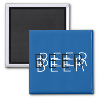 BEER Double Vision - Blue Black and White Refrigerator Magnets