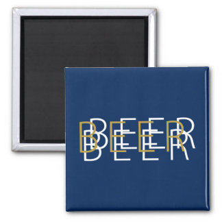 BEER Double Vision - Blue, Gold and White Square Magnet