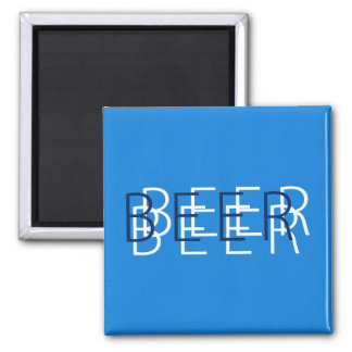 BEER Double Vision - Blue, Navy and White Square Magnet