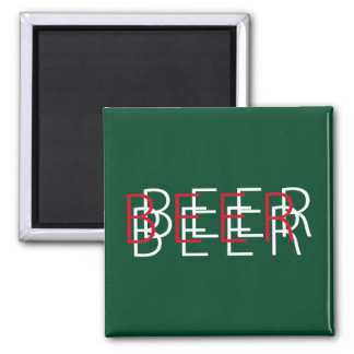 BEER Double Vision - Green Red and White Fridge Magnets