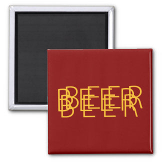 BEER Double Vision - Maroon Red and Gold Square Magnet