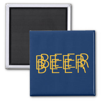 BEER Double Vision - Navy Blue and Gold Square Magnet