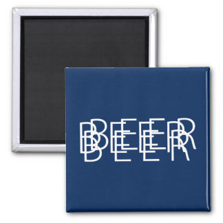 BEER Double Vision - Navy Blue and White Refrigerator Magnets